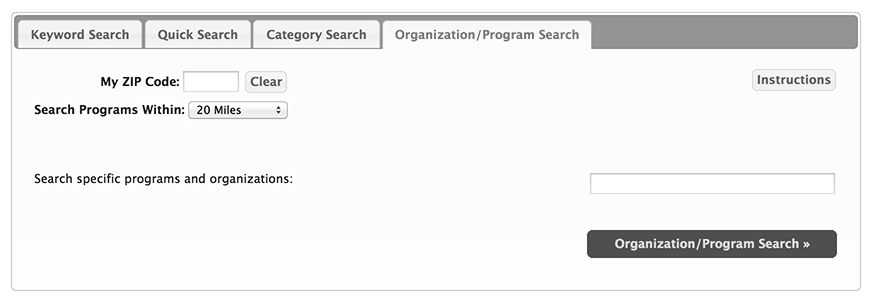 Organization/Program Search